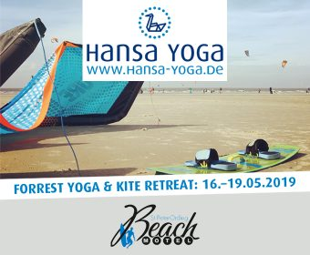 Kite Kitesurfen Forrest Yogareise Yogawochenende Beach Motel SPO St. Peter-Ording Nordsee Mai Pfingstferien 2019