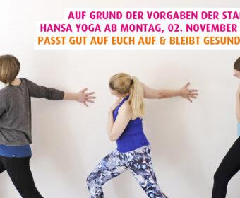 Hansa Yoga schließt ab Montag, 2. November 2020 wegen Beschlüssen der Stadt Hamburg zur Corona Eindämmung